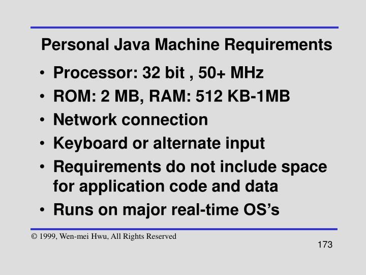 Personal Java Machine Requirements