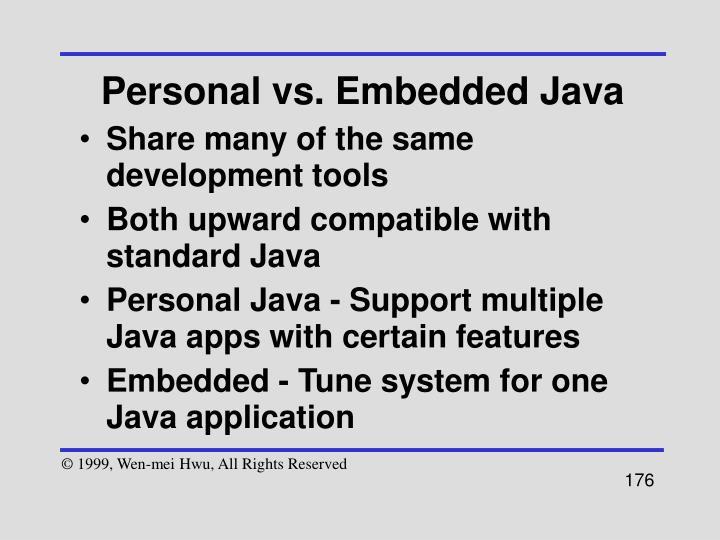 Personal vs. Embedded Java