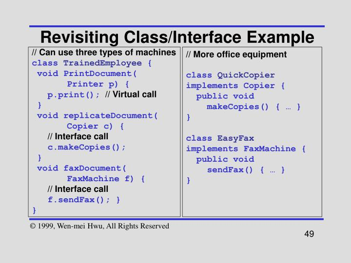 Revisiting Class/Interface Example