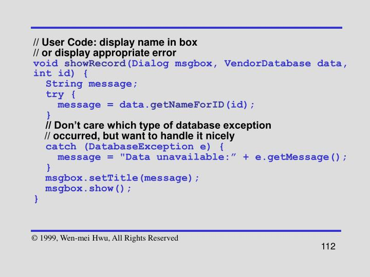 // User Code: display name in box