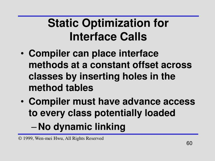 Static Optimization for