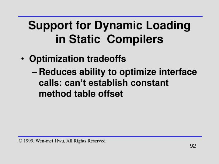 Support for Dynamic Loading in Static  Compilers