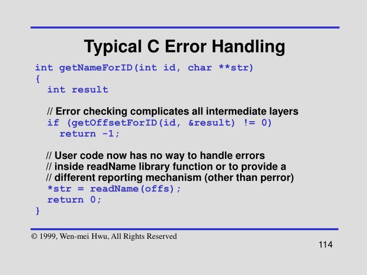 Typical C Error Handling