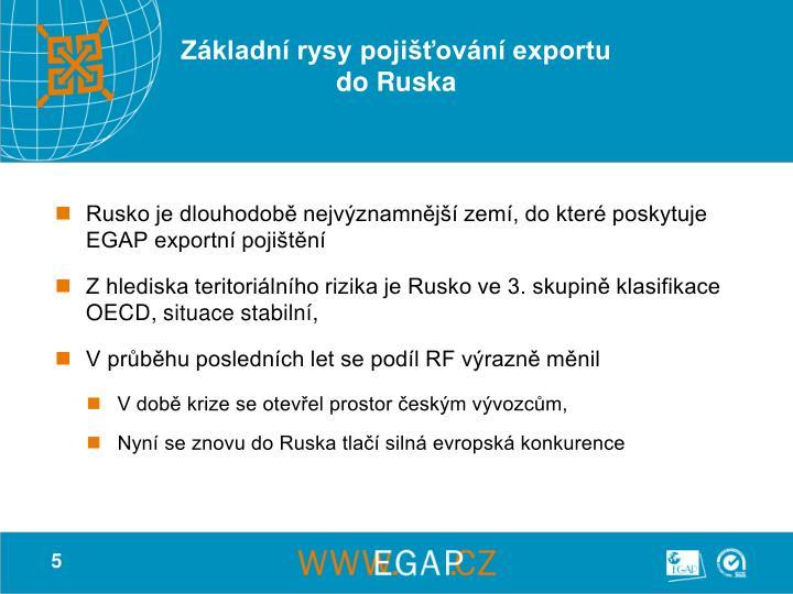 Základní rysy pojišťování exportu do Ruska