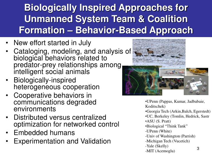 Biologically Inspired Approaches for Unmanned System Team & Coalition Formation – Behavior-Based Approach
