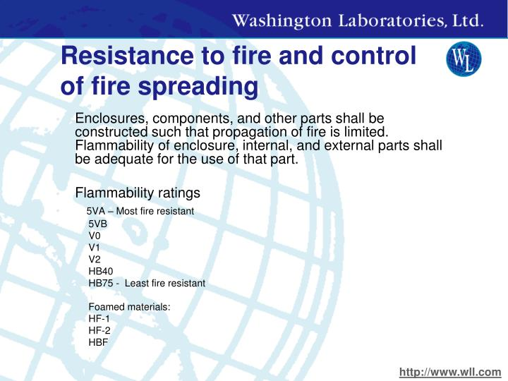 Resistance to fire and control of fire spreading