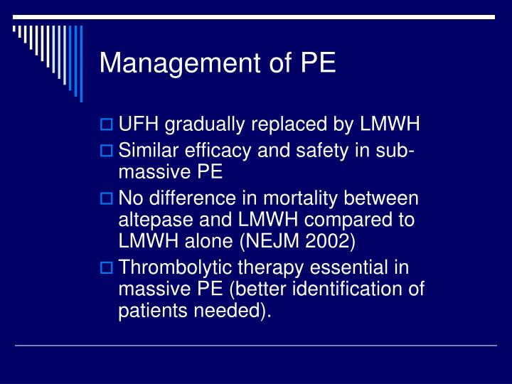 Management of PE