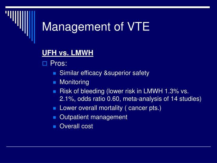 Management of VTE