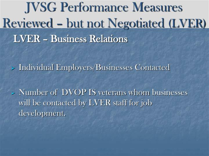 JVSG Performance Measures