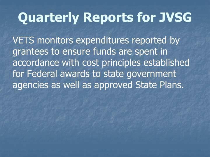 Quarterly Reports for JVSG