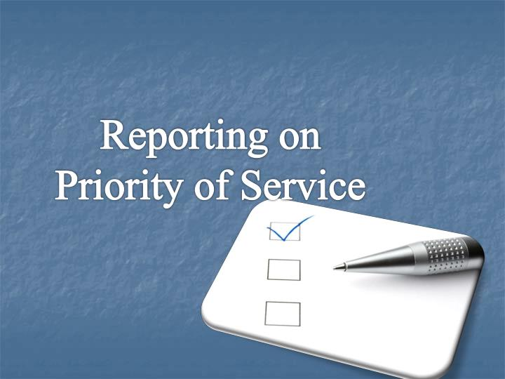 Reporting on Priority of