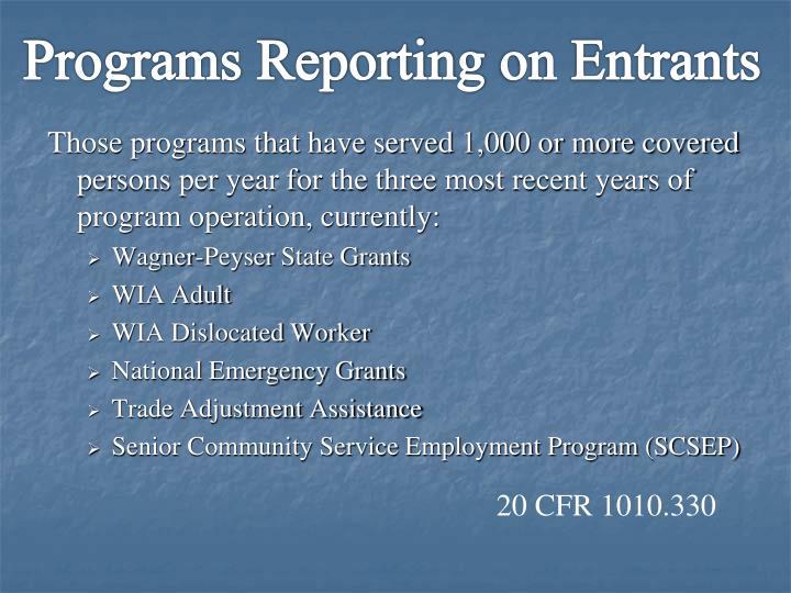 Programs Reporting