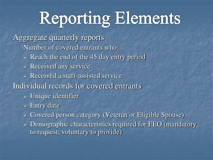 Reporting Elements