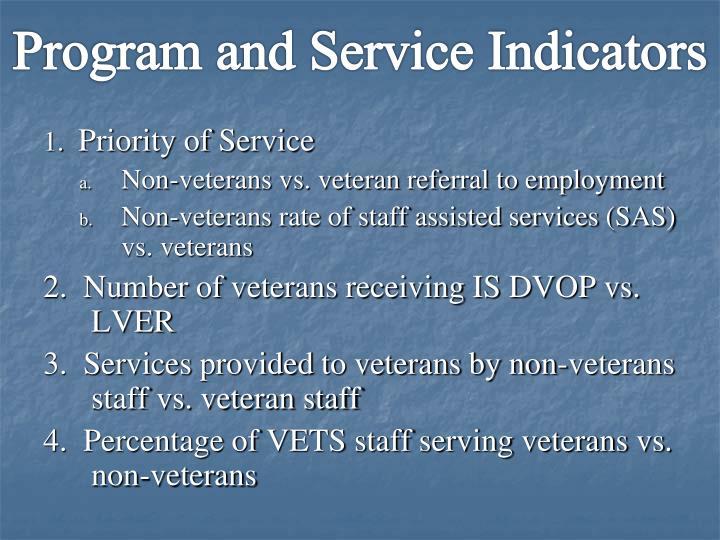 Program and Service Indicators