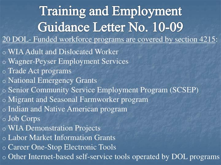 Training and Employment Guidance Letter No. 10-09