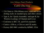 low voltage panel products cable termination and management cable ducting