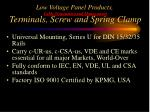 low voltage panel products cable termination and management terminals screw and spring clamp