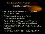 low voltage panel products controls limit switches cont