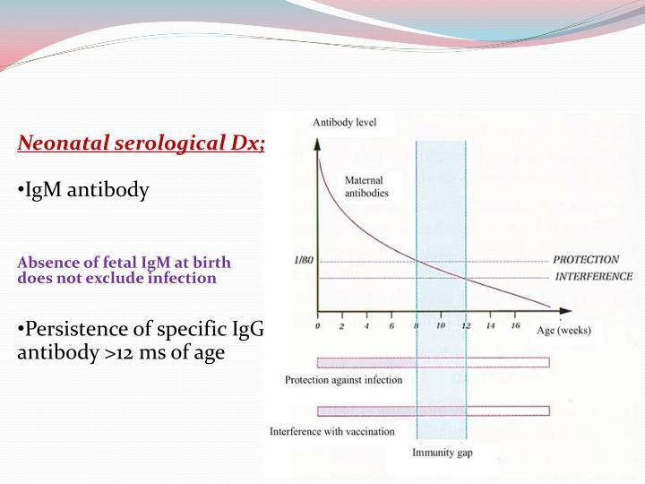 Neonatal serological Dx;