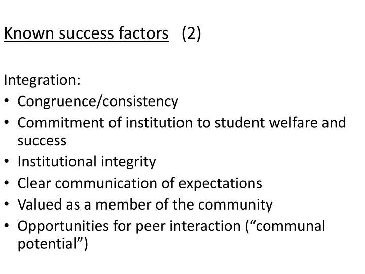 Known success factors