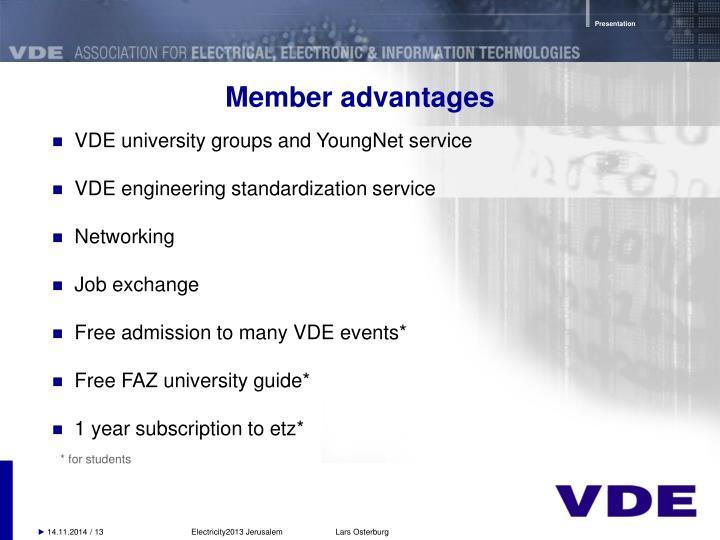 Member advantages