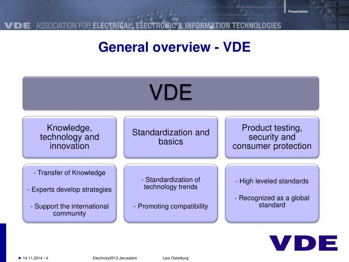 General overview - VDE