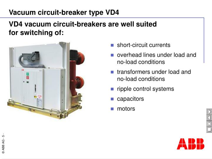 VD4 vacuum circuit-breakers are well suited