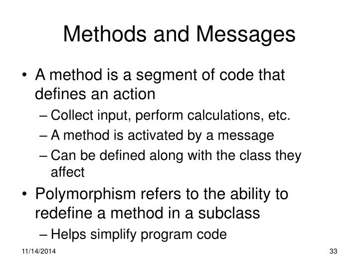 Methods and Messages