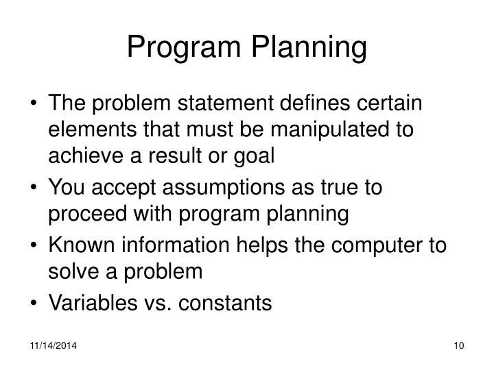 Program Planning