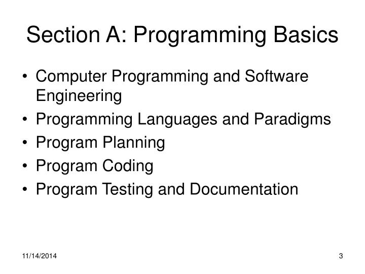 Section A: Programming Basics