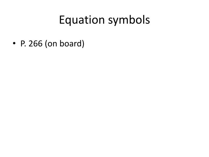 Equation symbols
