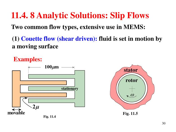 11.4. 8 Analytic Solutions: Slip Flows