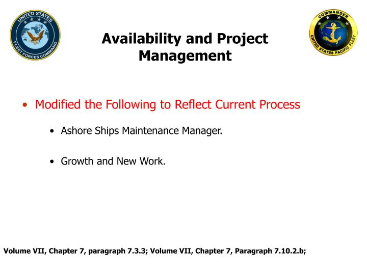 Availability and Project Management