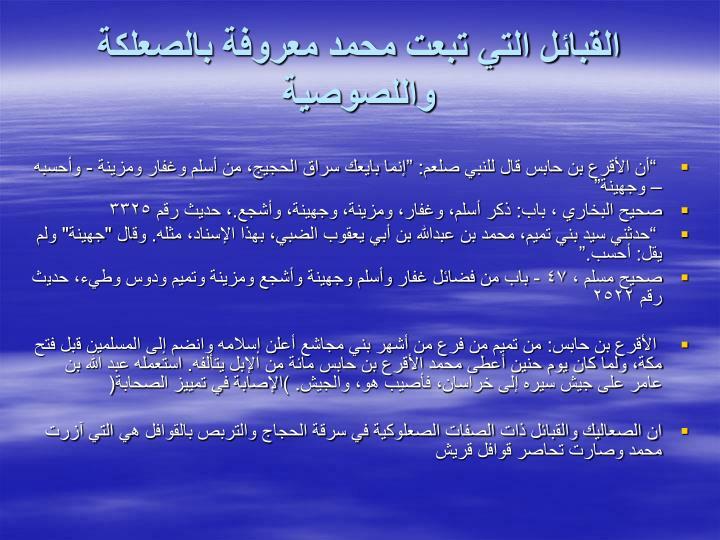 القبائل التي تبعت محمد معروفة بالصعلكة واللصوصية