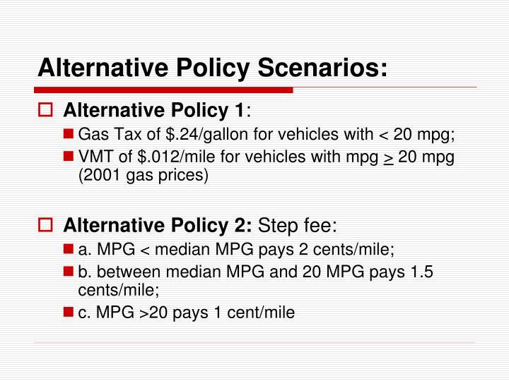 Alternative Policy Scenarios: