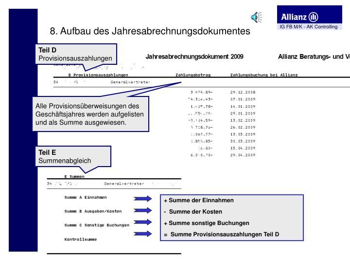 8. Aufbau des Jahresabrechnungsdokumentes