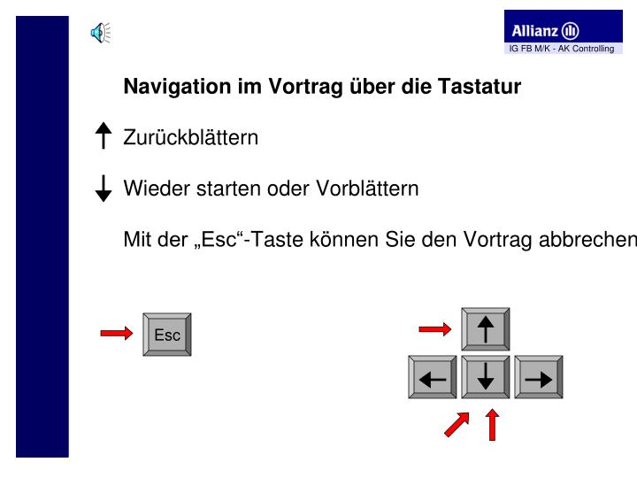 Navigation im Vortrag über die Tastatur