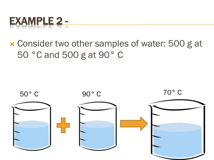 Consider two other samples of water: 500 g at 50 °C and 500 g at 90° C