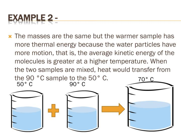 The masses are the same but the warmer sample has more thermal energy because the water particles have more motion, that is, the average kinetic energy of the molecules is greater at a higher temperature. When the two samples are mixed, heat would transfer from the 90 °C sample to the 50° C.