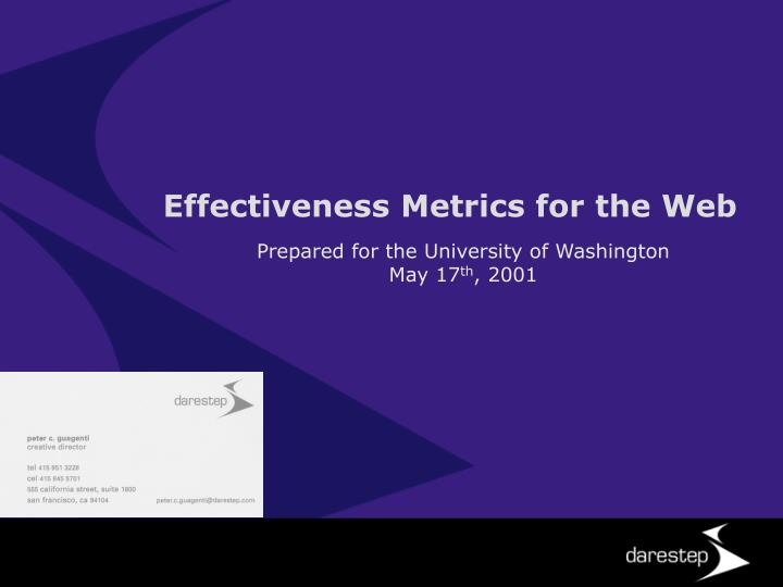 Effectiveness Metrics for the Web
