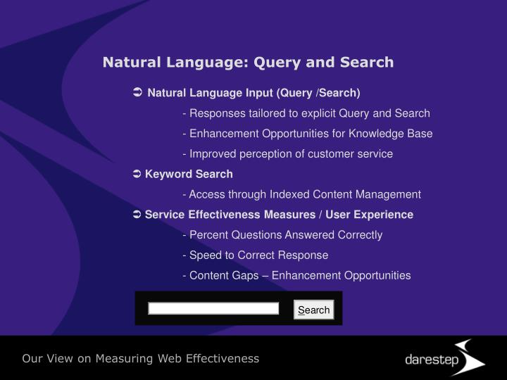 Natural Language: Query and Search