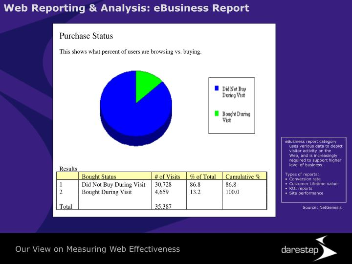 Web Reporting & Analysis: eBusiness Report
