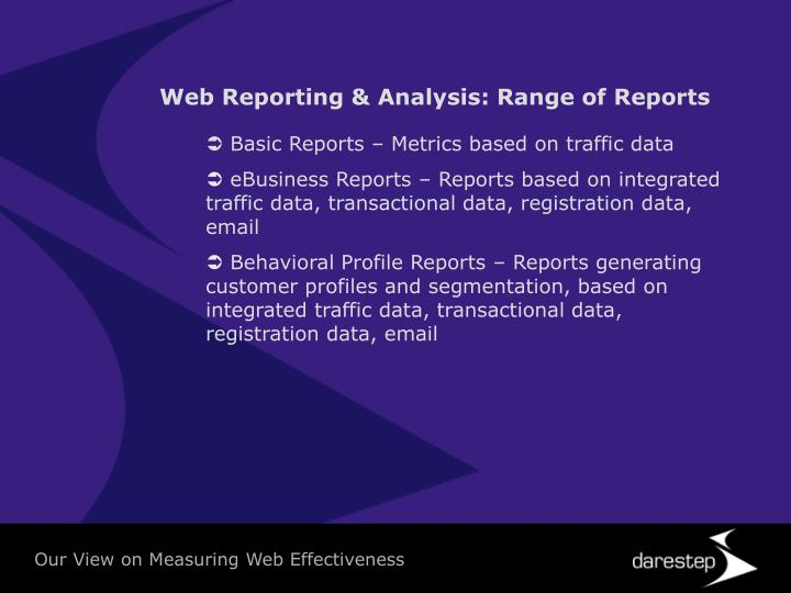 Web Reporting & Analysis: Range of Reports