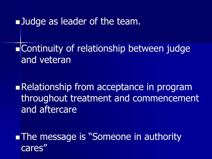 Judge as leader of the team.