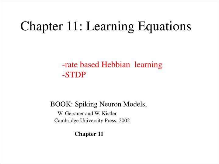 Chapter 11: Learning Equations