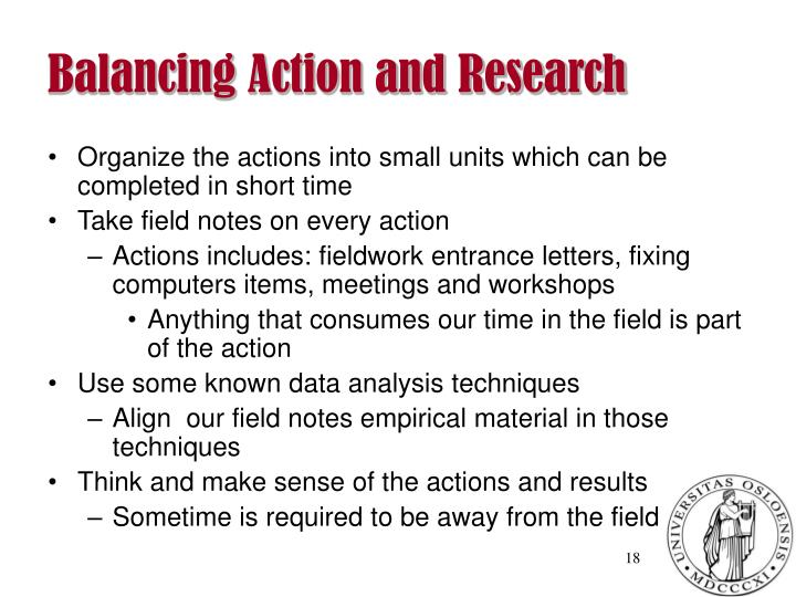 Balancing Action and Research
