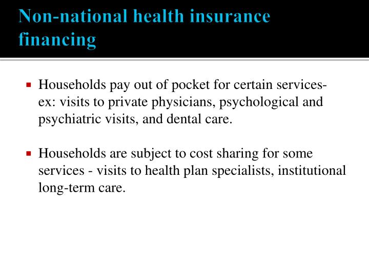 Non-national health insurance financing