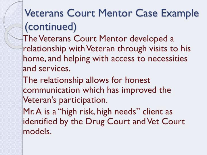 Veterans Court Mentor Case Example (continued)