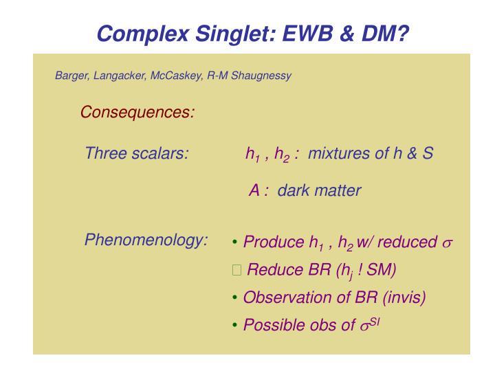 Complex Singlet: EWB & DM?