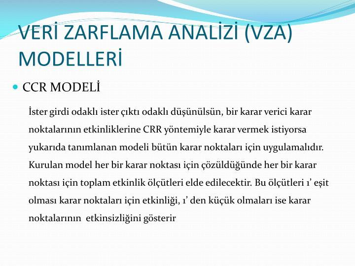 VERİ ZARFLAMA ANALİZİ (VZA) MODELLERİ